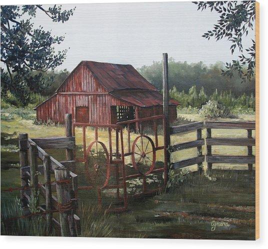 Red Barn At Sunrise Wood Print
