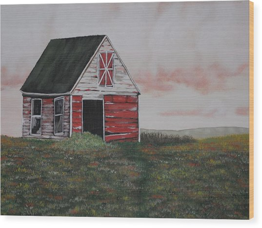 Red Barn Wood Print by Candace Shockley