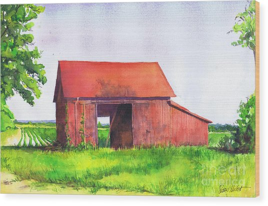 Red Barn Cutchogue Ny Wood Print