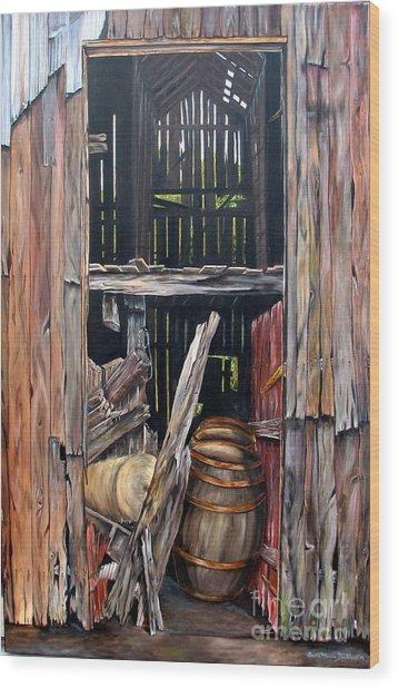 Red Barn Door Wood Print