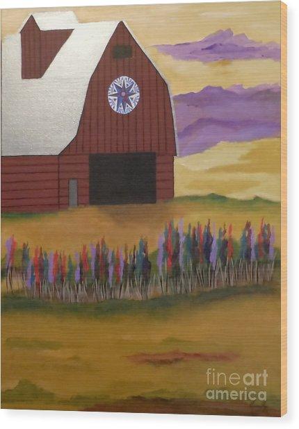 Red Barn Golden Landscape Wood Print