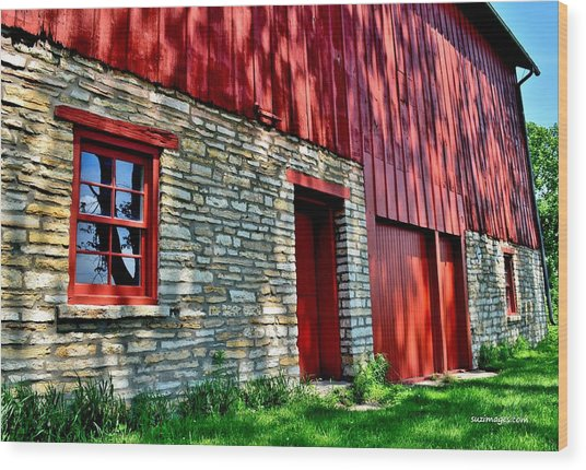 Red Barn In The Shade Wood Print
