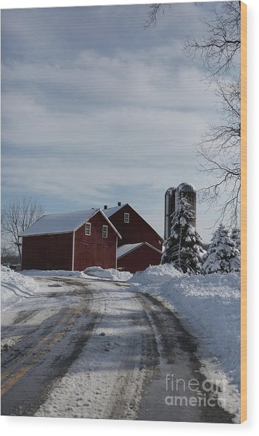 Red Barn In The Snow Wood Print