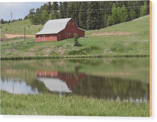 Red Barn Burgess Res Divide Co Wood Print