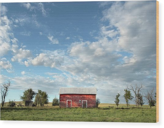 Red Barn On The Prairie Wood Print