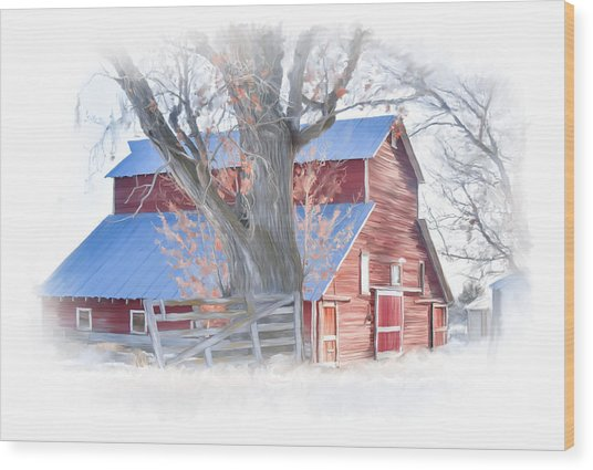 Red Barn On York Drive Wood Print