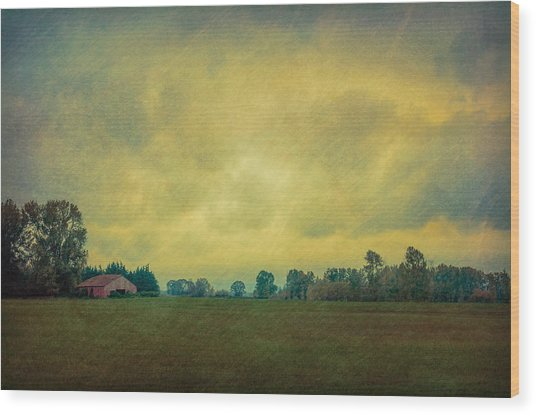 Red Barn Under Stormy Skies Wood Print