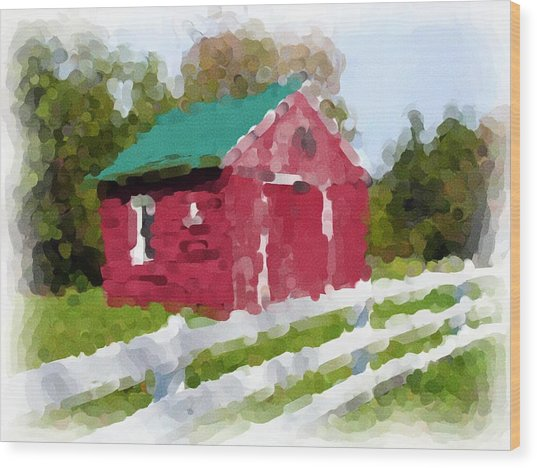 Red Barn Vermont Watercolor Wood Print by Ralph Liebstein