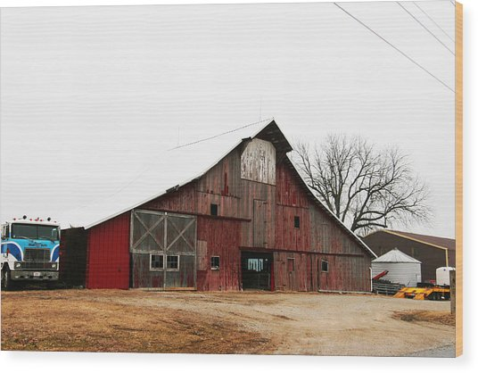 Red Barn W Blue Truck 2 Wood Print by Mike Loudermilk