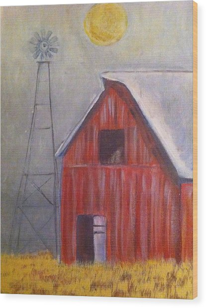 Red Barn With Windmill Wood Print