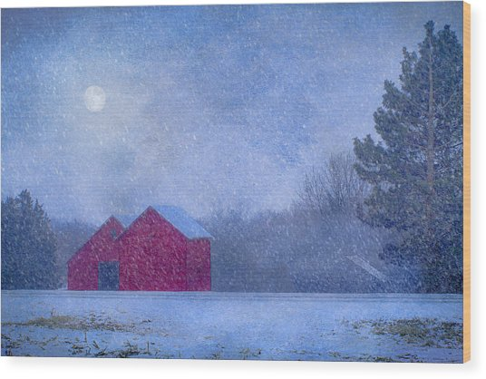 Red Barns In The Moonlight Wood Print