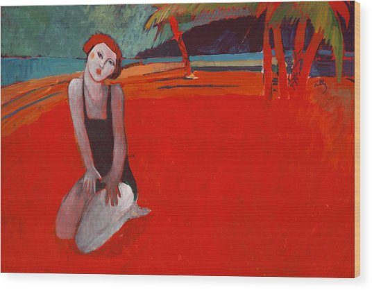 Red Beach Two Wood Print