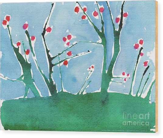 Red Berry Flowers Wood Print