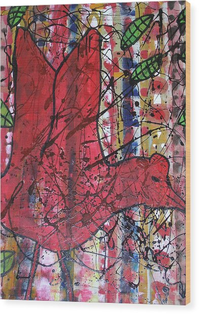 Red Bird I Wood Print by Russell Simmons