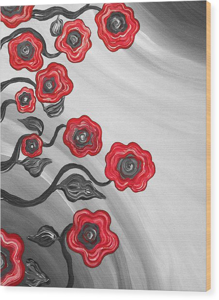 Red Blooms Wood Print by Brenda Higginson