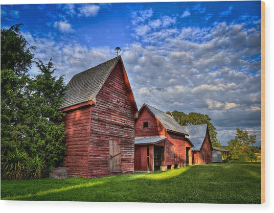 Red Blue And Green Barns At Windsor Castle Wood Print by Williams-Cairns Photography LLC