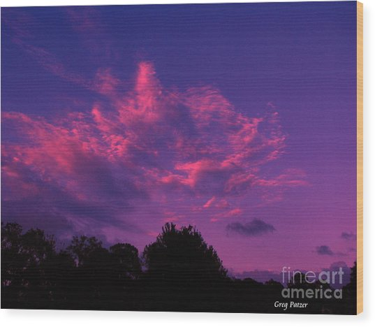Red Blue Sky Wood Print by Greg Patzer