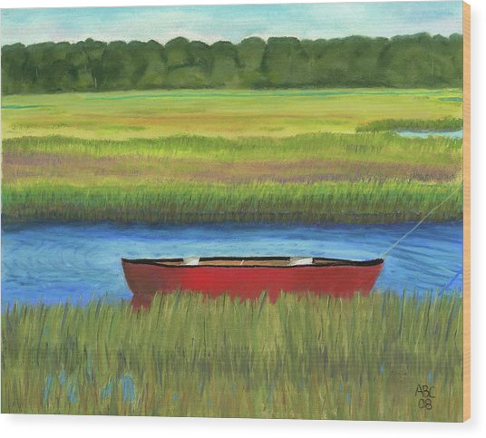 Red Boat - Assateague Channel Wood Print