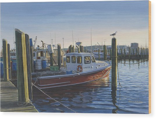 Red Boat At Galilee Wood Print by Bruce Dumas