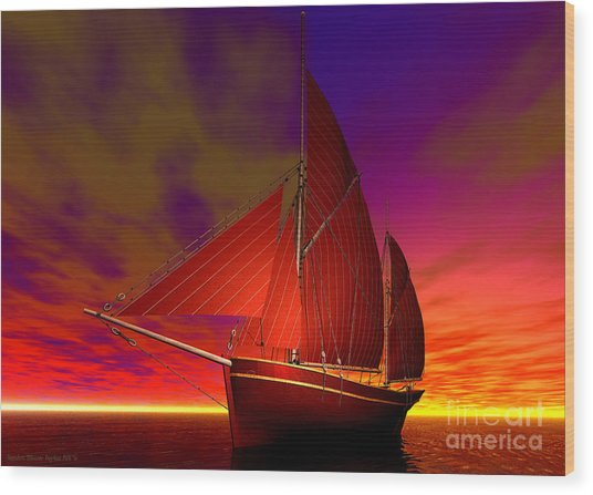 Red Boat At Sunset Wood Print