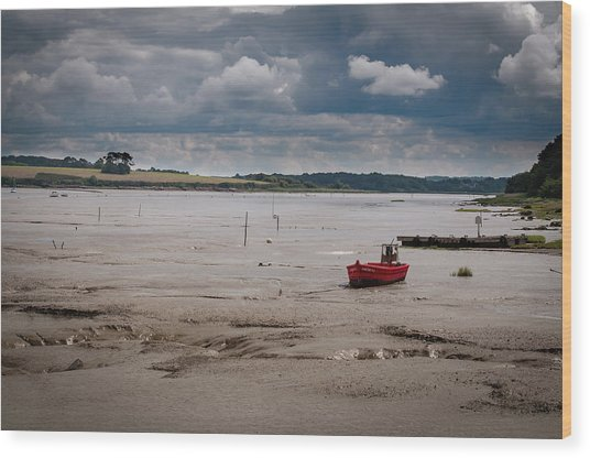 Red Boat On The Mud Wood Print