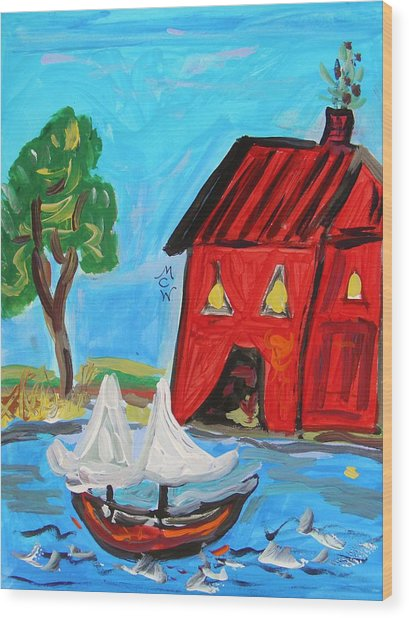 Red Boathouse And Red Sailboat Wood Print