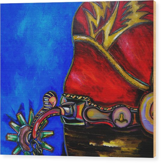Red Boot Wood Print