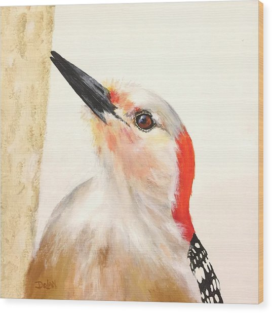 Red Breasted Woodpecker Wood Print