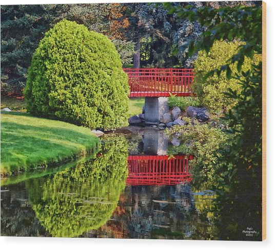 Red Bridge At Dow Gardens Wood Print