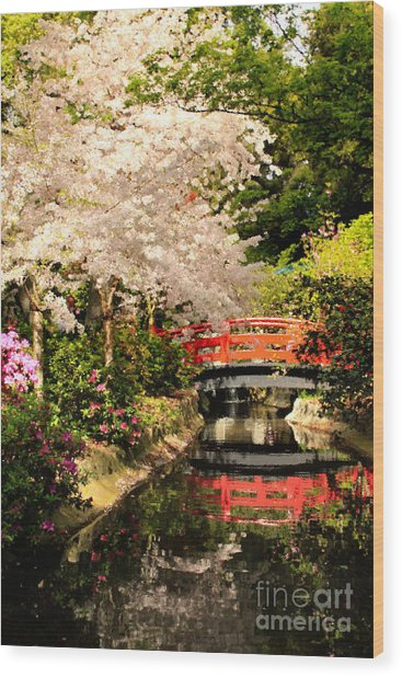 Red Bridge Reflection Wood Print