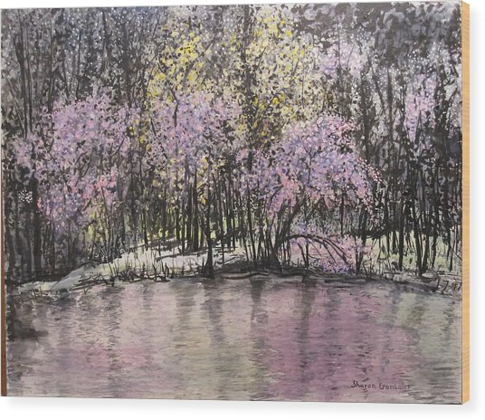 Red Buds Wood Print by Sharon  De Vore