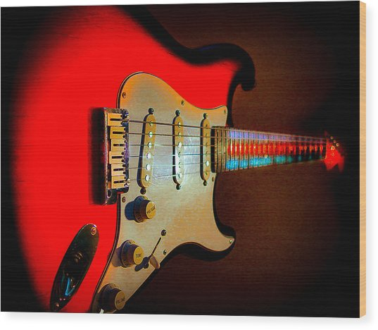 Red Burst Stratocaster Glow Neck Series Wood Print