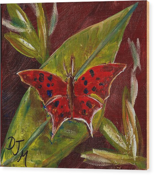 Red Butterfly Wood Print by Dalila Jasmin