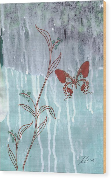 Red Butterfly Wood Print by Jennifer Bonset