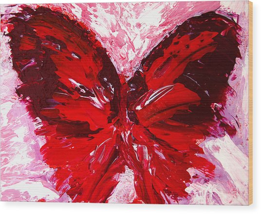 Red Butterfly Wood Print