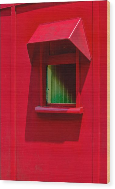 Red Caboose Window In Shade Wood Print