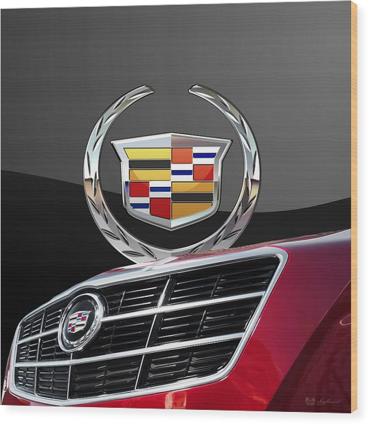 Red Cadillac C T S - Front Grill Ornament And 3d Badge On Black Wood Print