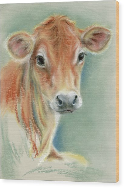 Red Calf Portrait Wood Print