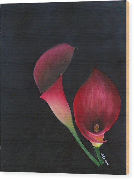 Red Calla Lillies Wood Print by Mary Gaines