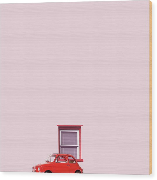 Red Car Wood Print