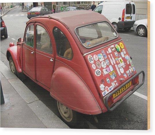 Red Car Wood Print by James Lukashenko