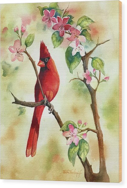 Red Cardinal And Blossoms Wood Print