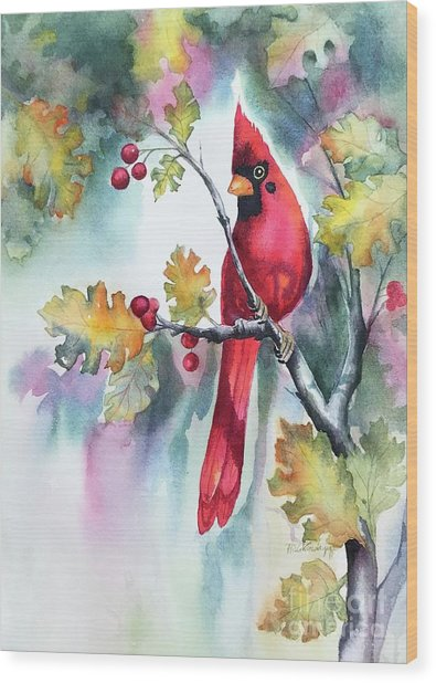 Red Cardinal With Berries Wood Print