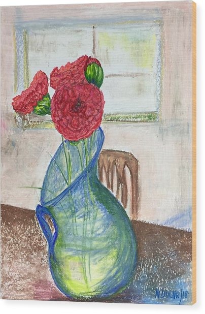 Red Carnations Wood Print
