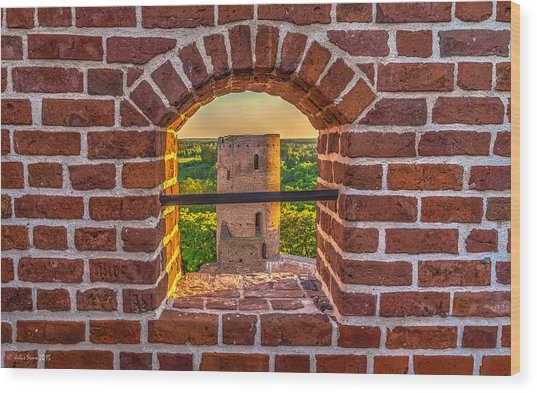 Red Castle Window View Wood Print