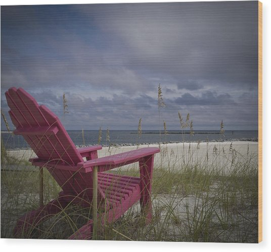Red Chair View Wood Print