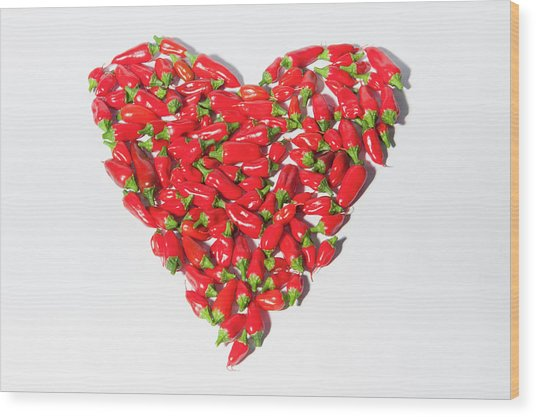 Red Chillie Heart II Wood Print