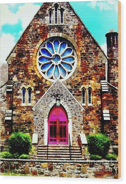 Red Church Door Bethlehem Pa Wood Print