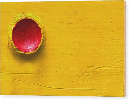 Red Circle In The Corner Wood Print