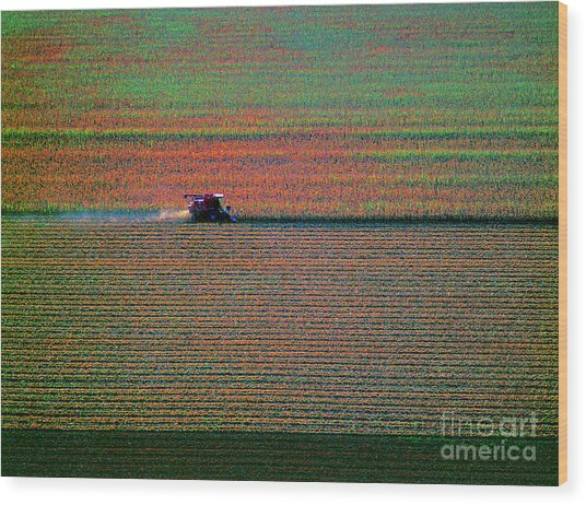 Red Combine Harvesting  Mchenry Aerial Wood Print